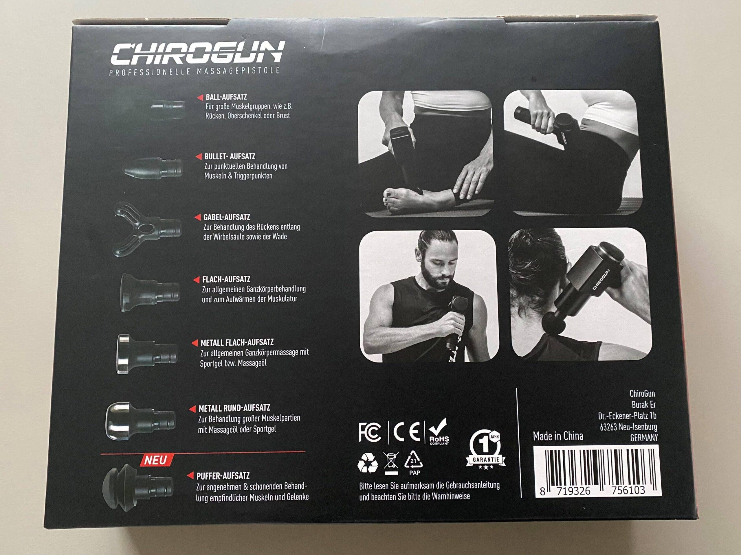 Chirogun Verpackung Rückseite